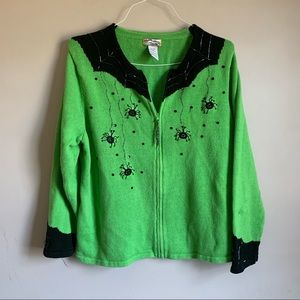 Halloween Sweater Green Black Spiders size 18/20